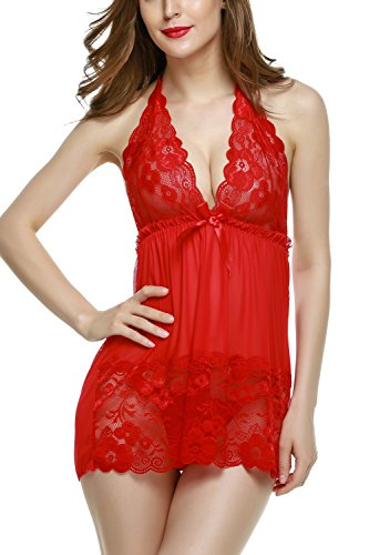 Avidlove Women Lingerie Lace Bodysuit Mesh Babydoll Halter Outfits Red Medium