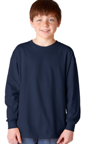 Heavy Cotton Youth Long-Sleeve T-Shirt, Nvy, Small