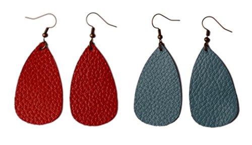 (L&N Rainbery Teardrop Leather Earrings Antique Looking Leather Dangle Earrings 2 Pairs Pack (Genuine)