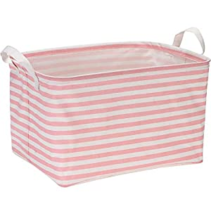 Sea Team Collapsible Rectangular Canvas Fabric Storage Bin Shelf Basket Organizer for Nursery & Kid's Room, 16.5 x 11 x 9.8 inches, Pink Stripe