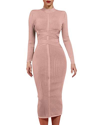 whoinshop Women's Cross Strap Ribbed Bandage Long Sleeve Midi Fall Winter Bodycon Party Dress (XL, Nude)