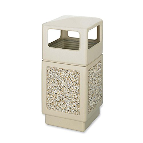 Safco Canmeleon Side-Open Receptacle, Square, Aggregate/Polyethylene, 38 gal, Tan (SAF9472TN) by Safco Products