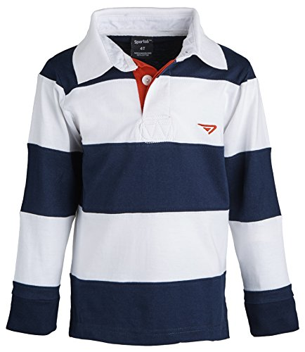 Boys 100% Cotton Wide Striped Long Sleeve Polo Rugby Shirt - White (Size 2) (Long Sleeve Two Button Rugby)