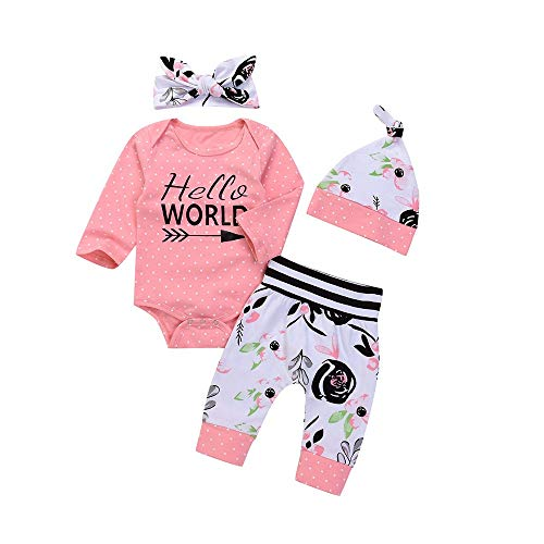6-24M Toddler Baby Letter Dot Romper Top+Floral Striped Pants+Flowers Hat+Headband 4PCS Outfit Clothes Set (Pink, 0-6 Months)