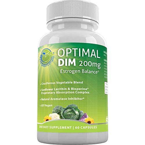 Estrogen Levels - Optimal DIM Supplement 200mg Plus - Estrogen Balance - Organic Whole Foods, Sunflower Lecithin/BioPerine Proprietary Absorption Complex, Aromatase Inhibitor, All Vegan, 60 DRcaps, 2 Month Supply