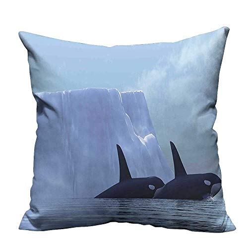 YouXianHome Decorative Throw Pillow Case Killer Whales Swimming Near an Iceberg in The Arctic Ocean Exotic Scene Light Ideal Decoration(Double-Sided Printing) 35x35 inch -