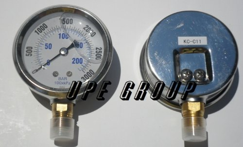 NEW STAINLESS STEEL LIQUID FILLED PRESSURE GAUGE WOG WATER OIL GAS 0 to 3000 PSI LOWER MOUNT 0-3000 PSI 1/4'' NPT 2.5'' FACE DIAL FOR COMPRESSOR HYDRAULIC AIR TANK by gauge
