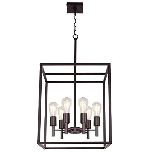 TODOLUZ 16Inches Large Foyer Ceiling Light 6 Lights Hanging Lamp Industrial Farmhouse Pendant Lighting with Square Cage Shades in Oil Rubbed Bronze (Pendant Chandelier Square)