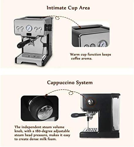 JAY-LONG Machine À Café 15 Bars À Portion Individuelle, Machine À Expresso avec Mousseur À Lait, pour Expresso, Cappuccino, Latte Et Moka