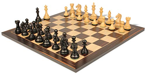 Fierce Knight Staunton Chess Set Ebonized & Boxwood Pieces with Classic Macassar Ebony Chess Board- 3