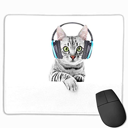 Music Gaming Mouse pad Cute Funny Short Hair Cat Listening to Music with Headphones Kitten Animal Art Print Custom Mouse pad 8.5