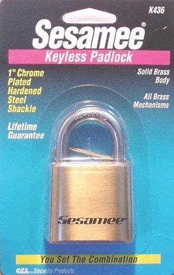 Sesamee Keyless Padlocks, 5/16 in Diam, 2 1/4 in L X 1 in W, Black (13 Pack)