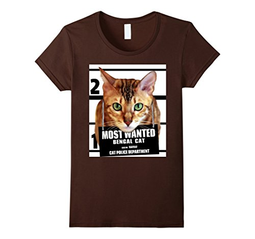 Womens Most Wanted Bengal Cat T-shirt - Cute Funny Feline Tee Shirt Medium Brown