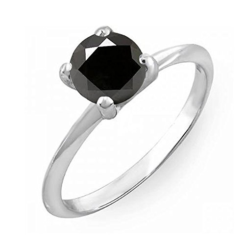 Dazzlingrock Collection 0.75 Carat (ctw) 10K Black Diamond Bridal Engagement Solitaire Ring 3/4 CT, White Gold, Size 8.5 ()