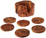Olive Wood Coaster Set -In Natural Bark Holder