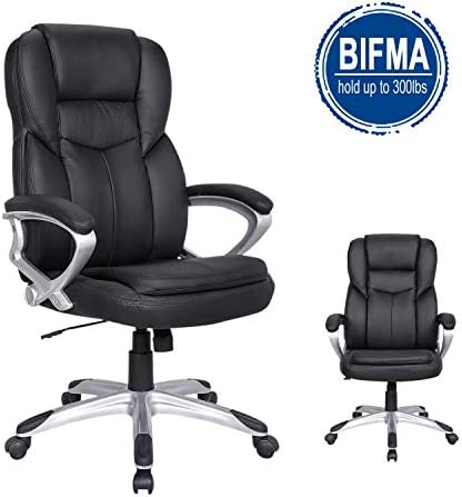 LCH PU Leather Executive Office Chair – Adjustable 90 -120 Recline Locking Mechanism Thick Padding and Ergonomic Design for Lumbar Support – 300lbs