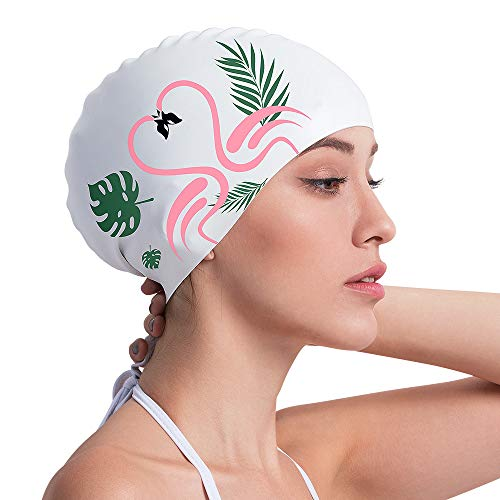 COPOZZ Swim Cap for Women, Silicone Waterproof Comfy Swimming Bathing Cap for Long Hair with Flamingo Printed