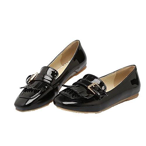VogueZone009 Women's PU Fringed Square Closed Toe Pumps-Shoes Black oB03j