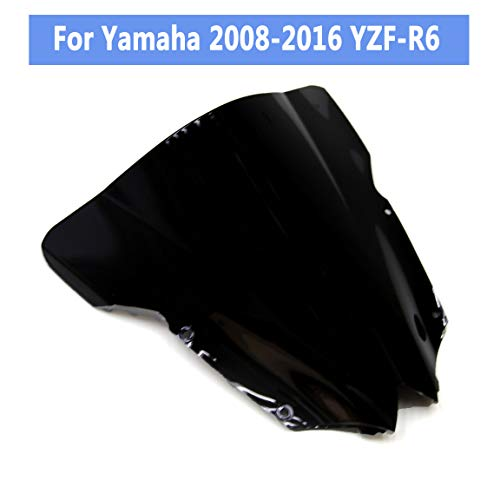 (Motorcycle Windshield, Black Double Bubble Aftermarket Replacement Front Windscreen Fits for 2008-2016 Yamaha YZF R6)