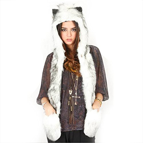 Costumes For Groups Of Girls (Cute Winter Faux Fur Hood Hoodie Hat Warm Earflap Costume Hat Scarf with Paws Mittens Pockets Gloves)