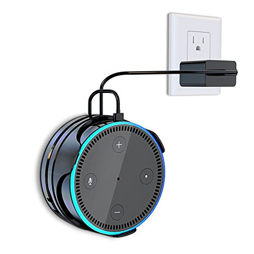 Matone Flexible Wall Mount for Dot 2nd Generation, Removable Holder Hanger Stand with Reusable Sticky Gel Pad, A Space-Saving Solution [Cord Wrap] for Your Smart Home Speaker - Black