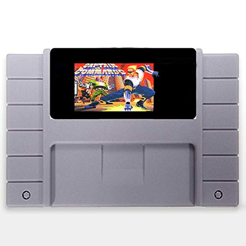 ZoneHoug 16 Bit 46 Pin Game Cartridge SNES - Captain Commando 46 Pin 16 Bit Grey Game Card For USA NTSC Game Player