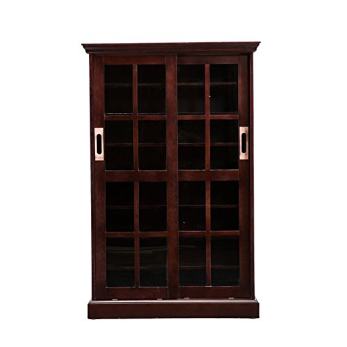 Sliding Door Media Cabinet - 4 Adjustable Shelves - Expresso Wood Finish