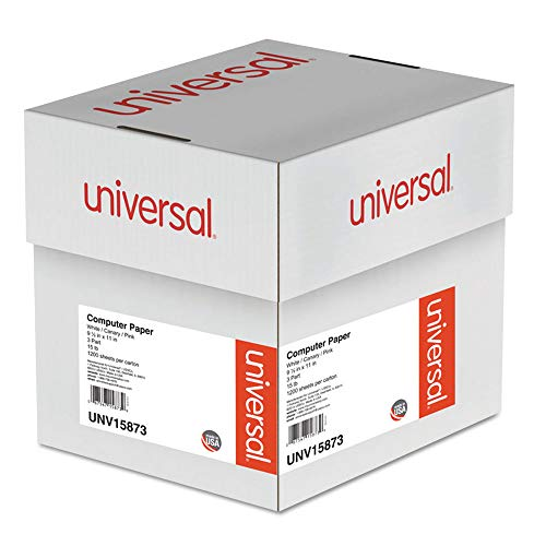 Universal 15873 Multicolor Computer Paper, 3-Part Carbonless, 15lb, 9-1/2 x 11, 1200 Sheets