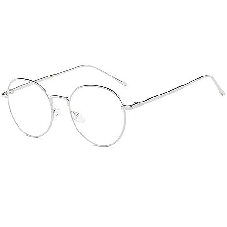 883017e6d42 YUNCAT Unisexe Rétro Rondes Metalique Cadre Frame Lunettes Vintage Verres  Transparent Style Aviateur Pilote Eyeglasses pour Homme et Femme Adultes ...