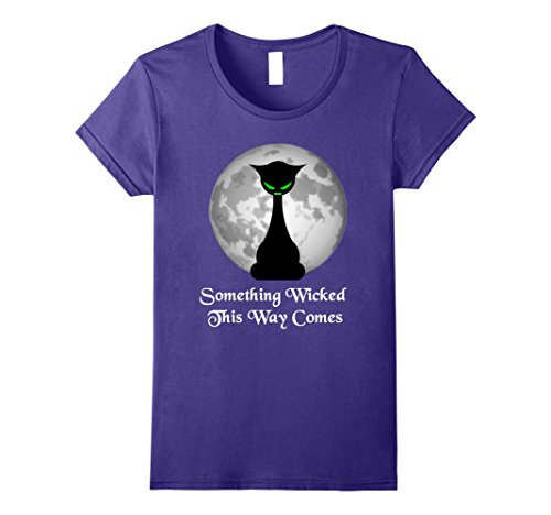 Crazy Cat Guy Costume (Womens Wicked Back Cat and Moon Halloween Tee Shirt Large Purple)