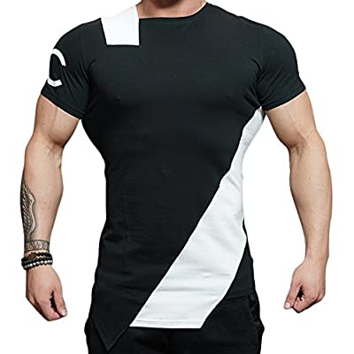 Mechaneer Men's Irregular Workout Muscle Gym Bodybuilding T-Shirt Short Sleeves