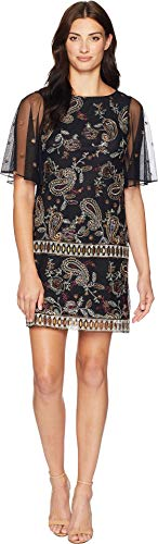 Embroidered Shift Dress Black (Adrianna Papell Women's Paisley Embroidered Shift Black Multi 12)