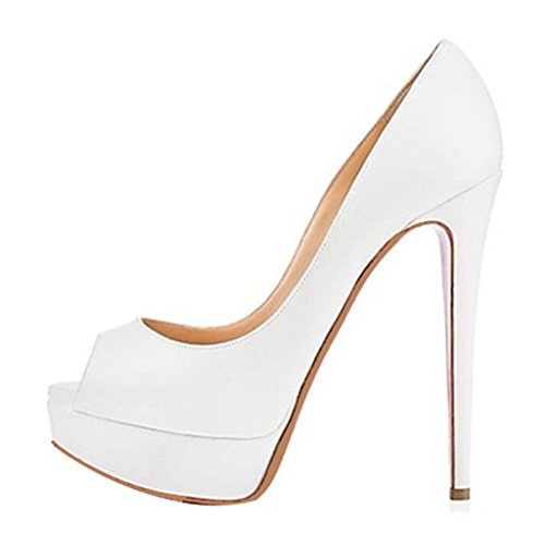 Platform White Shoes Toe Heel Peep Women's High Party Stiletto CAMSSOO for Pump Wedding SKq7tw8wA