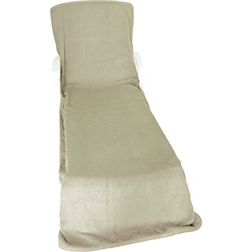 Comfy robes terry chaise lounge chair cover beige apparel for Chaise lounge covers cotton