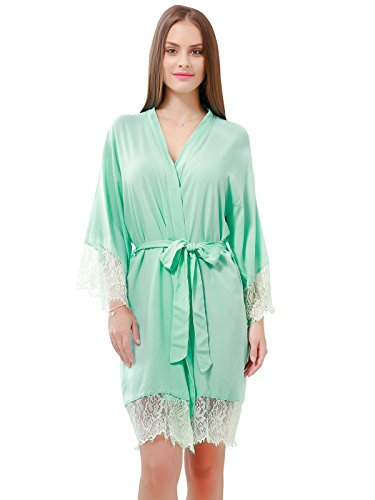 GoldOath Women's Kimono Robes Cotton Lightweight Robe Long Bathrobe Soft Sleepwear V-Neck Ladies Nightwear with Lace Trim Mint (Lace Belt Belted)