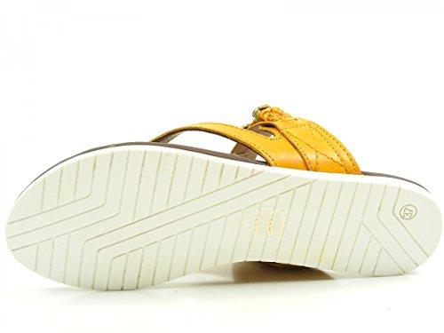 SPM 16566528 Moose Slipper Schuhe Damen Pantoletten Zehentrenner Gelb