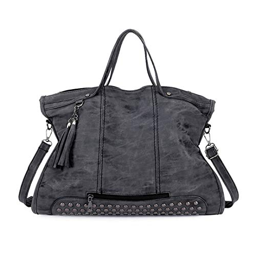 (Personality Scrub Studded Fringe Locomotive Bag Large Capacity Tote Casual Joker One Shoulder Messenger Bag Dark Gray W42H29D15 CM)