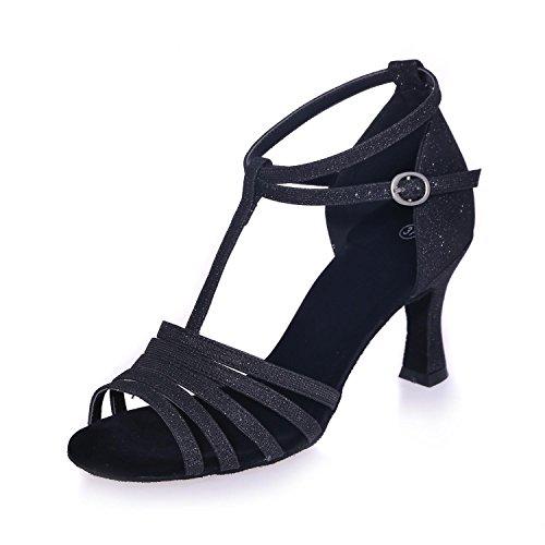 L@YC Frauen tanzen Schuhe Praxis Schuhe / Ballsaal / moderne Leder / funkelnde Pailletten Black