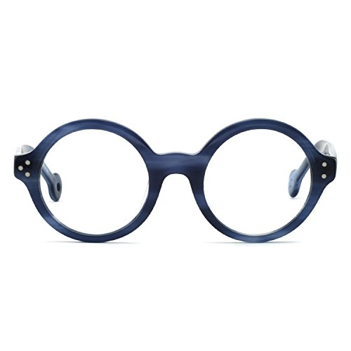 OCCI CHIARI Lightweight Black Round Eyewear Frames With Optical Clear Lens For Women and Men (Navy ()