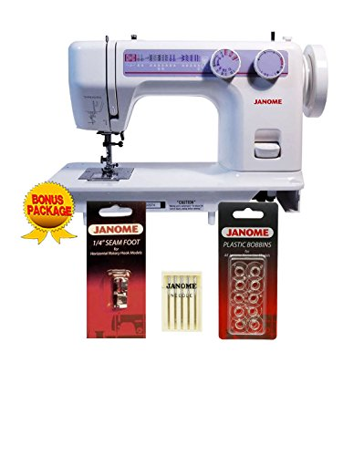 Janome 712T Treadle Sewing Machine with Janome 1/4 inch Seam Foot, 10 Janome Bobbins and Size 14 Needles by Janome