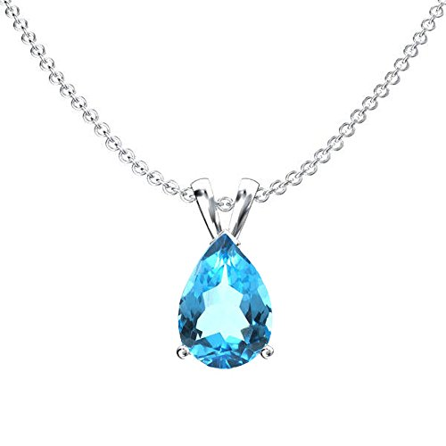 Dazzlingrock Collection 10K 8x6 mm Pear Cut Blue Topaz Ladies Solitaire Pendant (Silver Chain Included), White Gold