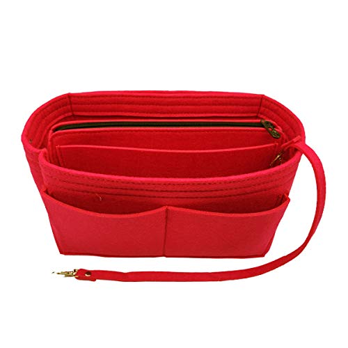 LEXSION Felt Purse Insert Handbag Organizer Bag in Bag Organizer with HandlesHolder Red X-Large 8021