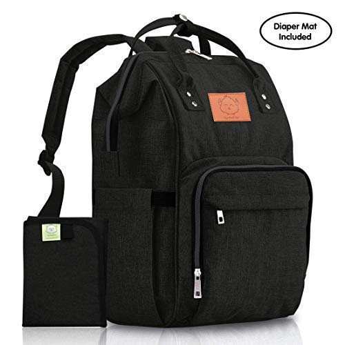 Diaper Bag Backpack Large - Multi-Function Waterproof Travel Bags for Mom, Dad, Men, Women - Large Maternity Nappy Bags - Durable, Stylish - Diaper Mat Included (Trendy Black)