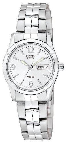 Watch Date Quartz Day (Citizen Women's Quartz Silver-Tone Watch with Day/Date display, EQ0540-57A)