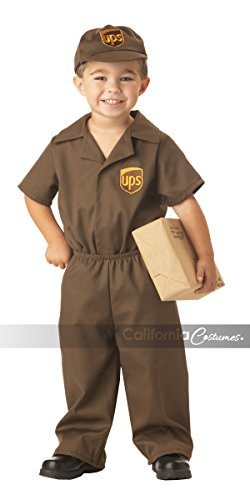 Ups Man Costume (UPS Guy Boy's Costume, Medium (3-4),Brown)