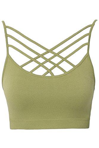 - TheMogan Women's Sleeveless Cage Bustier Crop Top Strappy Bralette Sage S/M