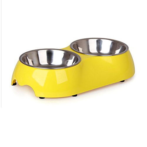 dog and cat stainless steel double diner food water bowl yellow small - Cat Bowls