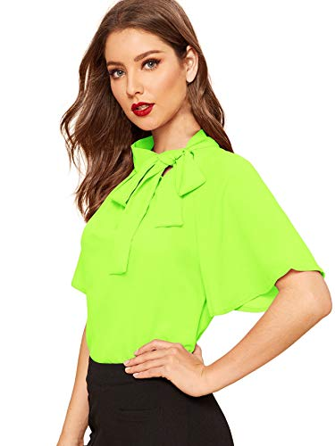 SheIn Women's Casual Side Bow Tie Neck Short Sleeve Blouse Shirt Top X-Small Neon Green