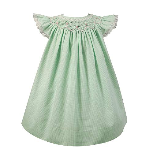 (Petit Ami Baby Girls' Angel Wing Smocked Dress with Bloomer, 6 Months, Mint)
