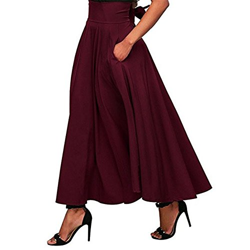 (Women Skirt Polyester,sfe- Fashion Women Solid High Waist Pleated A Line Long Skirt Front Slit Belted Maxi Skirt S-XXL,Woman Side With Fork Belt Belt Skirt Skirt Retro Dress (L, Red))